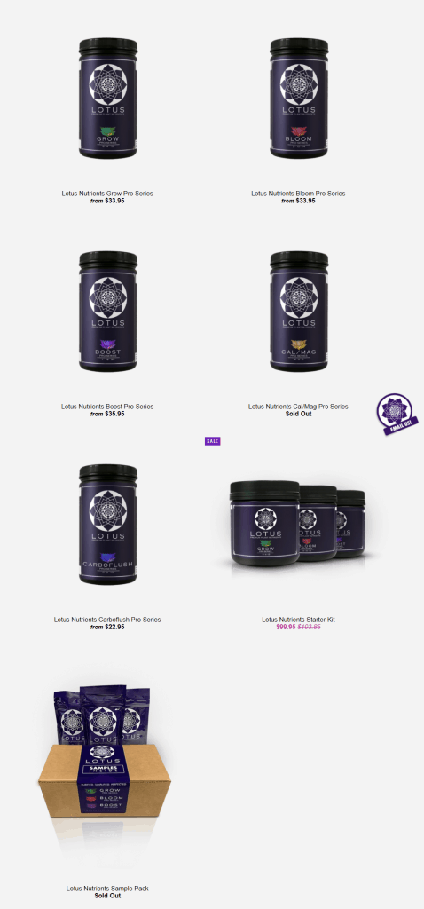 lotus nutrients product lineup